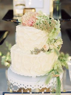 Two-Tier Wedding Cake with Fresh Flowers | Brides.com