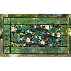 Edel Byrne Sea Green Border Aqua Waves Stained Glass Panel, Artistic Artisan Designer Window Panels