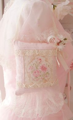 Gorgeous Vintage Barkcloth, Lace, Millinery and Ribbon give this Hanging Sachet Romance and Charm. Filled with only the Finest and Sweetest French Lavender that will last for years to come.