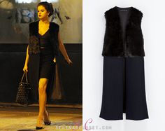 Selena Gomez was spotted leaving a restaurant in Milan with friends, wearing a Zara Combined Fur Long Waistcoat in color Navy Blue. This wai...