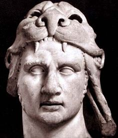 Mithridates VI wearing a lion head, 120 BCE- 63 BCE. King of Pontus, centered below the Caspian Sea, was the Hellenistic enemy of Rome. He controlled most of the shores of the Black Sea and its huge resources. In his first war, he conquered all of Asia Minor, where he massacred resident Romans and Italians. He took Greece before Roman legions forced him back, in his 3rd war he was pushed into Crimea where he killed himself.