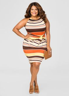 Striped Knot Waist Halter Dress