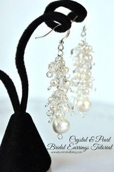 e3ee29f44 Crystal and Pearl Bridal Earrings Diy Earrings Pearl, Chandelier Earrings, Wedding  Earrings, Beaded