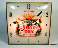 Canada Dry Antique Clock (Old Vintage 1962 Soda Pop Advertising Lighted Buble Glass Pam Clock)
