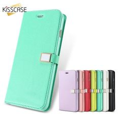 KISSCASE Candy Color Leather Case For iPhone 7 7 Plus Flip Wallet Card Slot Case Cover For iPhone 6 6S Plus 5S 5C 4S With Logo
