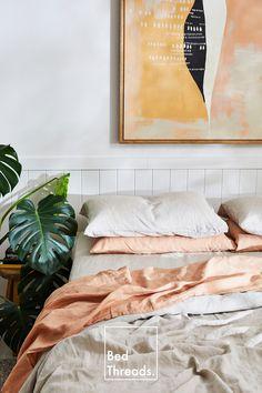 Bedroom Inspo, Bedroom Decor, Master Bedroom, Linen Couch, Minimal Home, Linen Sheets, Bedding Sets, Linen Bedding, Interior Design
