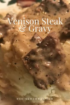 My husband's venison steak and gravy. Cook the venison steak and gravy in the crock pot for five hours and serve over mashed potatoes. Venison Cube Steak Recipe, Steak Gravy Recipe, Deer Steak Recipes, Chopped Steak Recipes, Crockpot Steak Recipes, Cooking Venison Steaks, Cube Steak And Gravy, Cube Steak Recipes, Deer Recipes