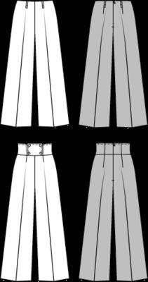 NR. 7122 Marlene-Hose - breiter Bund.  Die neuen Hosenformen erinnern an die 70er und 80er. Die Hosenbeine mit Bügelfalte sind weit und zum Saum ausgestellt. Der Reißverschluss sitzt in der rückw. Mitte.  Bei Hose A wird auf den Bund verzichtet. Hose B hat einen breiten, hochgeschnittenen Bund mit Teilungsnähten. Der vordere Doppelbund wird mit vier Knöpfen gehalten.  Stoffempfehlung: Gabardine, leichte Wollstoffe, Kreppstoffe