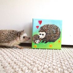 Mama Love - Hedgehogs #2.  This tiny painting is part of my Mama Love series which honors the love between mother and child.
