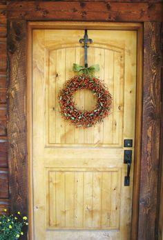 TANGERINE & SAGE GREEN Berry Wreath-Fall Door Wreath-Autumn Decor- Scented Apple Cinnamon-Custom-Choose Ribbon and Scent