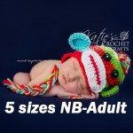Sock Monkey Crochet Hat Pattern sizes Newborn-Small Adult