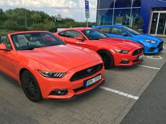 Ford mustang GT Competition orange 2015 convertible, race red GT 2015 fastback and Ford Focus RS 2016. Beauty and the beast :)
