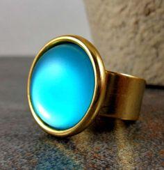 Statement Ring, Mint, Gold, Stone Ring, Circle Ring, Adjustable, Matte Ring, Round Ring, Gold Ring, Big Ring, Iridescent Ring, Glow Ring by Pilboxx on Etsy