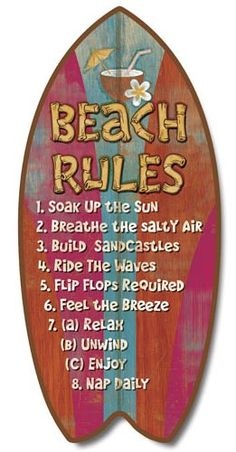 Beach Rules Surfboard Sign | OceanStyles.com