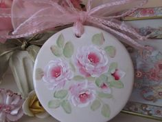 HP SHABBY COTTAGE VICTORIAN PINK ROSES CERAMIC CHRISTMAS ORNAMENT OOAK SIGNED