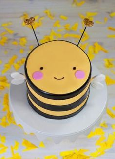 CUTEST cake ever! A sneak peek at Buzzby, the first in our new line of original-design mini animal cakes! Bee Birthday Cake, Best Birthday Cake Recipe, Animal Birthday Cakes, Simple Birthday Cakes, 17 Birthday, Baby Cakes, Girl Cakes, Cake Girls, Cake Decorating Designs