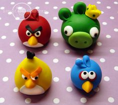 4 Edible Fondant 3D Angry Birds Inspired Cake Toppers
