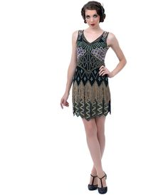 Hand Beaded Peacock Carwash Hem Flapper Dress (35464-A-191) van Liberty Exports - We\'re as proud as peacocks over this o...Price - $298.00-DsaKp4Lf