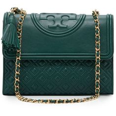 Tory Burch Fleming Quilted Convertible Shoulder Bag (€465) ❤ liked on Polyvore featuring bags, handbags, shoulder bags, norwood, quilted purses, chain shoulder bag, convertible purse, convertible shoulder bag and green purse