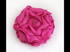 DIY Garden Rose, Tutorial, How to make Grosgrain Rose - YouTube