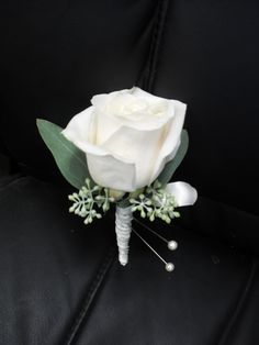 white rose boutonniere for wedding and prom.