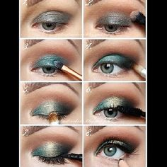 Green smokey eyes are made more special with the addition of  luxe gold shimmer. Follow the step by step guide to DIY this fabulous look to wear for your next party.
