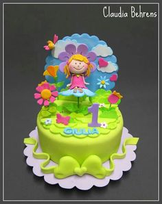 ... girls cake birthday colorful flower beautiful party kids