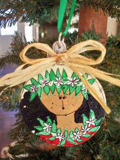 Wood handpainted Hawaiian ornament 3 inch by LetuliCreations, $12.00
