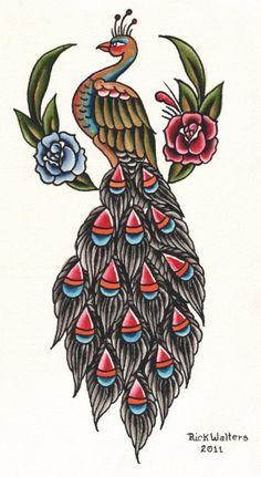 Ricks Peacock by Rick Walters Tattoo Bird Canvas Giclee Fine Art Print – moodswingsonthenet Traditional Tattoo Prints, Traditional Tattoo Flowers, Blue Tattoo, Tattoo Bird, Old Tattoos, Body Art Tattoos, Pfau Tattoo, Canvas Art Prints, Fine Art Prints