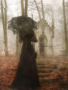 dark lady strolls through the fog