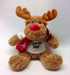 Personalised Christmas Reindeer from Say it with Bears. Personalised Teddy Bears, Reindeer, Toys, Christmas, Animals, Personalized Teddy Bears, Activity Toys, Xmas, Animales