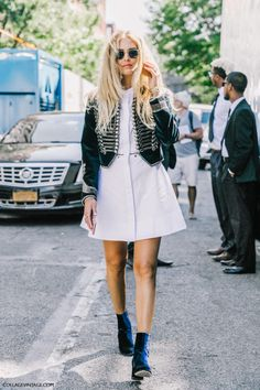 Velvet military Jacket paired with white flared mini dress and ankle booties - Street Style - Love!!