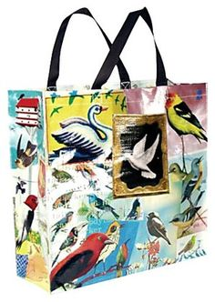 This recycled materials shopping bag is covered with colorful bird graphics. Available at Casa.com