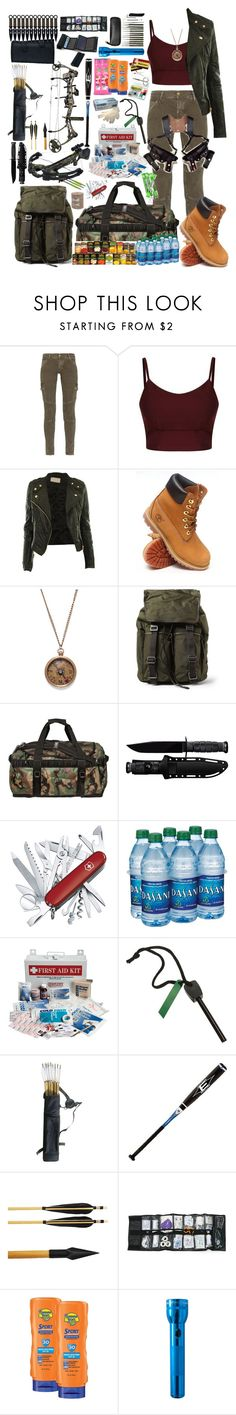 """""""Zombie Apocalypse Survival Stuff"""" by galaxyfab9000 ❤ liked on Polyvore featuring Current/Elliott, Timberland, Dolce&Gabbana, The North Face, Victorinox Swiss Army, Whetstone Cutlery, EASTON, Lab, Banana Boat and American Apparel"""