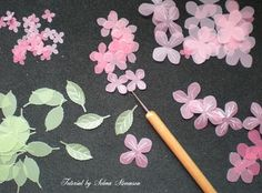 "Vellum Flower and Leaf tutorial by Selma Stevenson  (041310)  [Martha Stewart Punches]  ""...use a stylus to create lines to give them more dimension."""