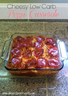 If you're looking for a great cheesy low carb recipe that's delicious AND kid-approved? Try this easy Cheesy Low Carb Pizza Casserole!
