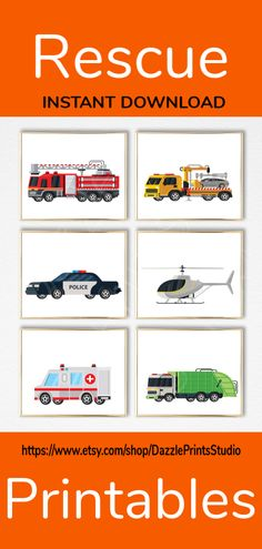 Rescue wall art perfect for your baby boy's nursery, toddler boy's room or any preferred space. These rescue wall art can even be used to decorate a classroom or playroom. Nursery Prints, Nursery Art, Police Nursery, Boy Wall Art, Transportation Theme, Halloween Prints, Baby Boy Nurseries, Home Decor Wall Art, Printable Wall Art