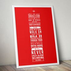 YNWA Lyrics - Liverpool FC Print (Red)