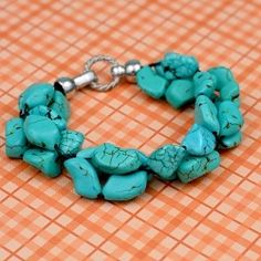 Easy DIY Cluster Bead Bracelet done in turquoise.