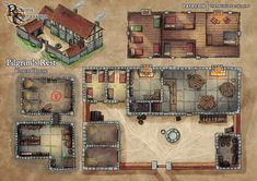 Fantasy City, Fantasy House, Fantasy Map, Dungeons And Dragons Homebrew, D&d Dungeons And Dragons, Minecraft Blueprints, House Blueprints, Casa Viking, Pathfinder Maps