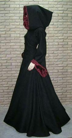 Vestido medieval negro y rojo