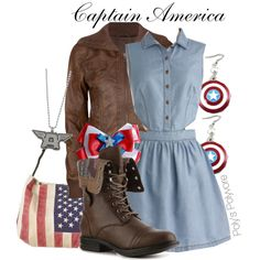 Captain America by polyspolyvore on Polyvore featuring Full Tilt, Madden Girl, Free People, Shield, marvel, avengers and captain america