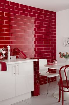 ReThink: Subway Tile // Red tiles enliven the space and make a statement Red Kitchen Decor, Kitchen Tiles, Red Kitchen Walls, Red And White Kitchen, Kitchen Brick, Condo Kitchen, Open Kitchen, Kitchen Colors, Design Kitchen