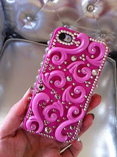 "reasons why my sister is awesome- she ""bedazzled"" her iphone case like this!"