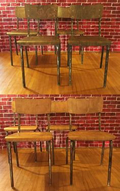 French Vintage Industrial Factory Dining Chairs Circa these two sets of 4 unique French Vintage Industrial chairs at standard table-height. The have been resurfaced the wood and metal frame for that industrial chic look. Ideal for table seating, ar