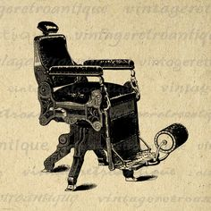 Digital Graphic Antique Barber's Chair by VintageRetroAntique