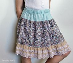 Pam from Threading My Way shows how you can sew an easy elastic waist skirt with a pretty lace ruffle at the hem. The simple gathered skirt is super versatile – it can go dressy or casual an… Girls Skirt Patterns, Sewing Patterns, Ruffle Skirt Tutorial, Kids Clothes Online Shopping, Skirt Pattern Free, Free Pattern, Toddler Skirt, How To Make Skirt, Skirts For Kids