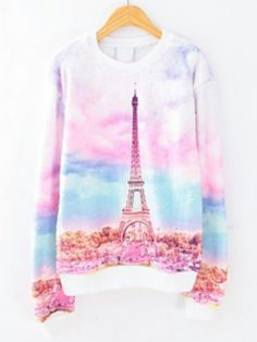 Pink Gradients Long Sleeve Pylon Print Sweatshirt zł95.56