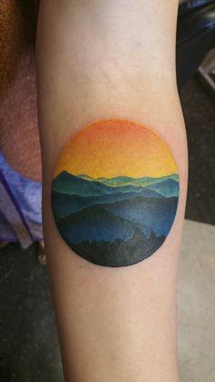 I finally got my tattoo of the Blue Ridge Mountains.  Unaka Mt, at the Beauty Spot on the TN/NC border.