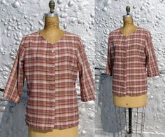 Vintage 1950s shirt / 50s plaid shirt / Boxy Blouse